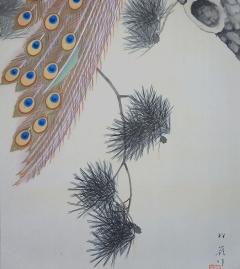 田場松嶺 老松孔雀之図