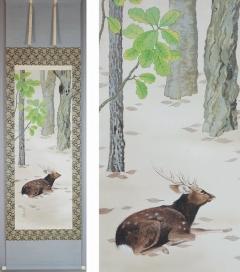 小野踏青 林間の鹿