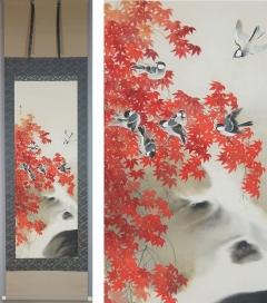 鈴木秀芳 紅葉小禽図