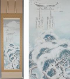押柄江春 御題社頭雪 (厳島神社・宮島)