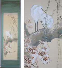 杉山桂僊 桜花白鷺