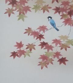 平松惇 紅葉に小禽