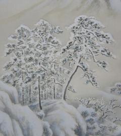 田川春翠 木曽雪景之図