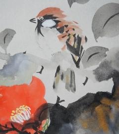 町田泰宣 椿小禽之図