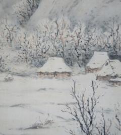 片山秀陵 寒村積雪