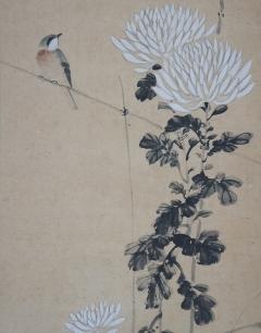 肥田景雲 菊に小禽