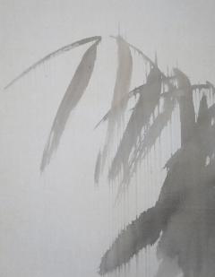 石川竹邨 雨中白鷺