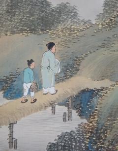 岡田雪窓 秋暮山行図