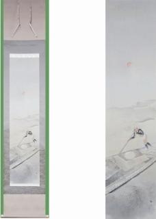 中川和堂  湖畔舟人図