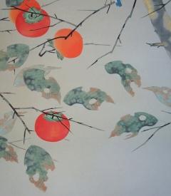 坂本宗春 柿に小禽 [新品・在庫特価]